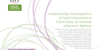 Report cover, Understanding lived experience of food environments